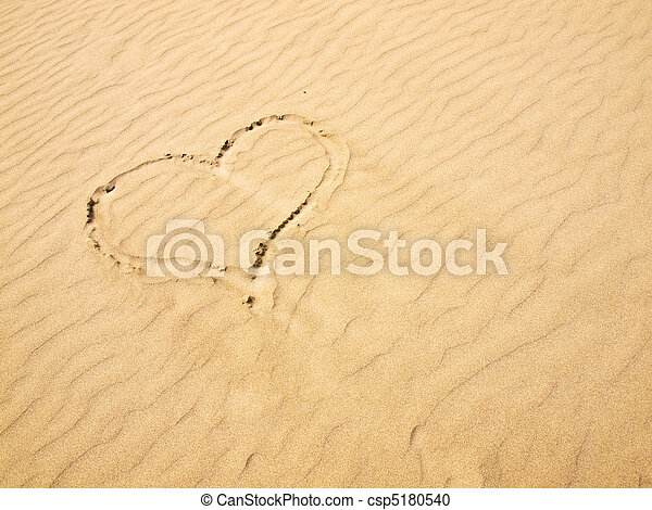 Heart in the Sand on a Sunny Day - csp5180540