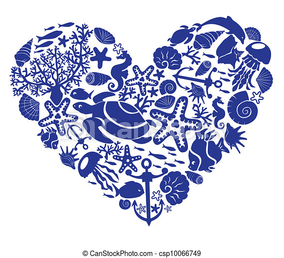 Heart is made of fishes, corals, - csp10066749