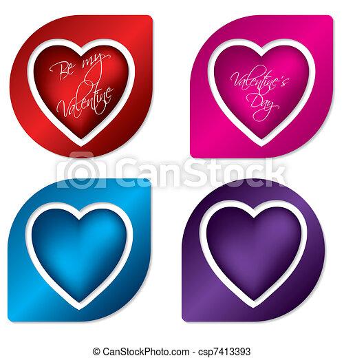 Heart label design set - csp7413393
