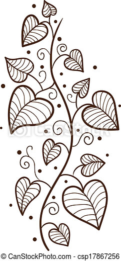 Heart leaves border. sketch vector design element for ...