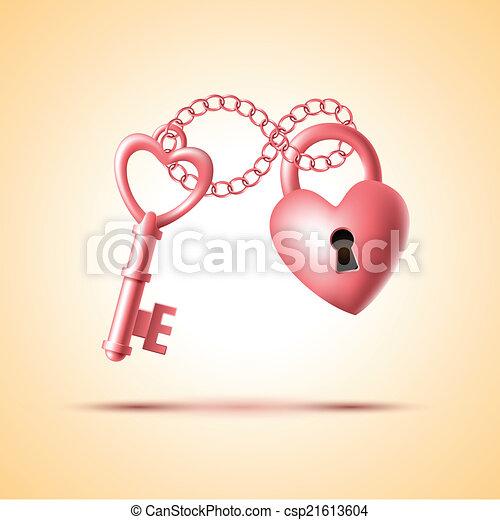 heart lock with key heart shape lock with key vector