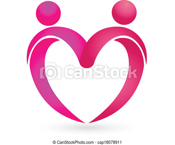 Heart Love Logo Couples Figures With A Icon Vector