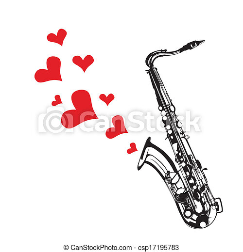 Heart love music saxophone playing - csp17195783