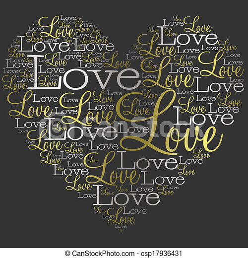 Heart made from words in vector format. - csp17936431
