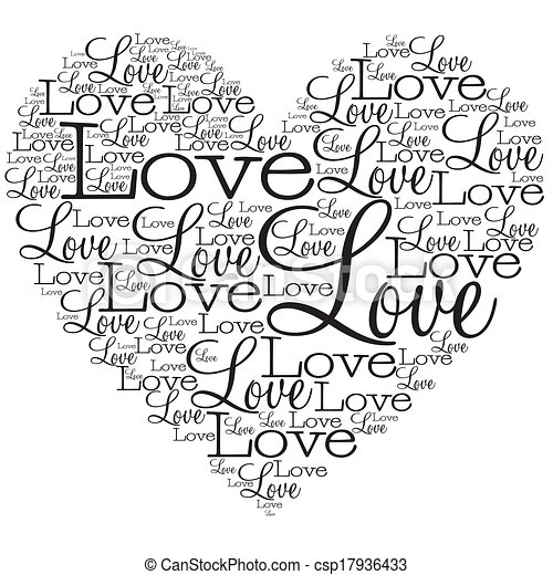 Heart made from words in vector format. - csp17936433