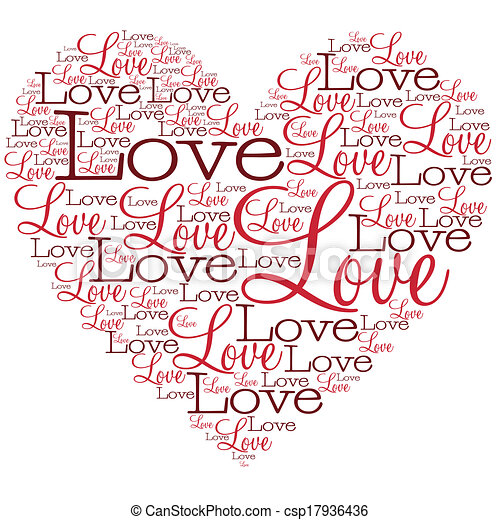 Heart made from words in vector format. - csp17936436