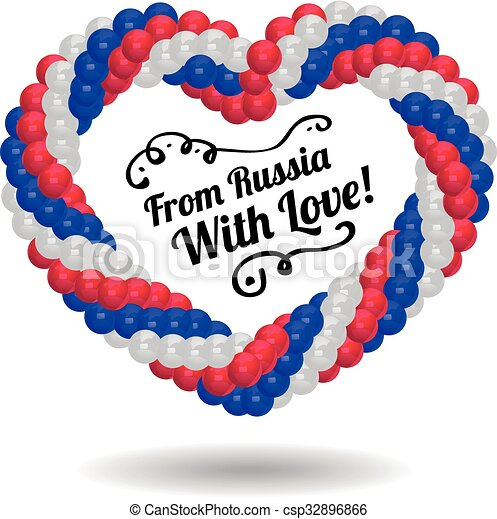Heart made of balloons in the colors of Russian flag. - csp32896866