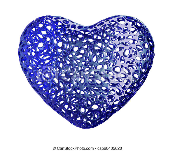 Heart made of blue plastic with abstract holes isolated on white background. 3d - csp60405620
