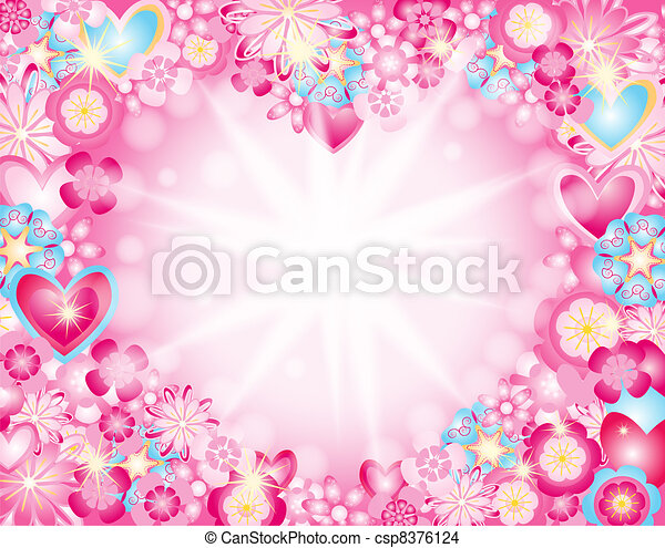 heart made of flowers stars and ray - csp8376124
