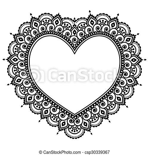 Heart Mehndi Design Indian Henna Valentie S Day Vector Black