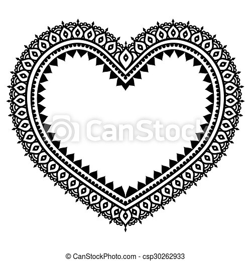 Heart Mehndi Design Indian Henna Vector Black Ornament Orient