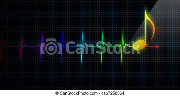 Heartbeat Line Art : Horizontal pulse trace heart monitor with colorful music