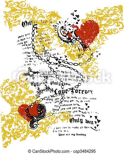 heart newspaper art design - csp3484295