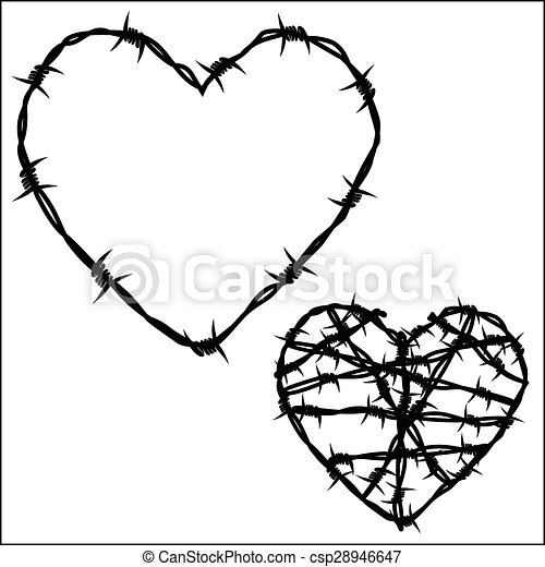 Vector illustration - heart of barbed wire. eps vector - Search Clip ...
