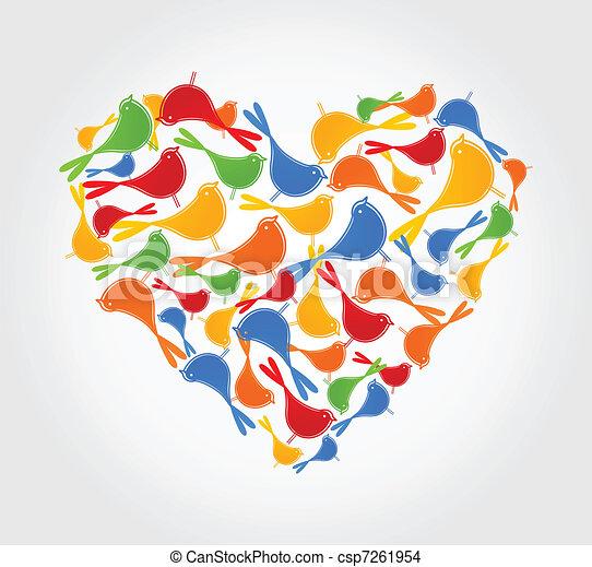 Heart of birds - csp7261954