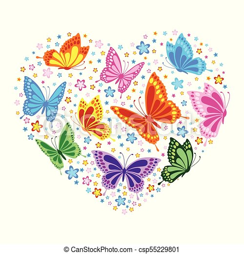 Heart Of Butterflies And Flowers