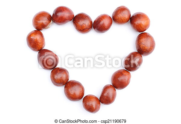 Heart of chestnut on white background - csp21190679