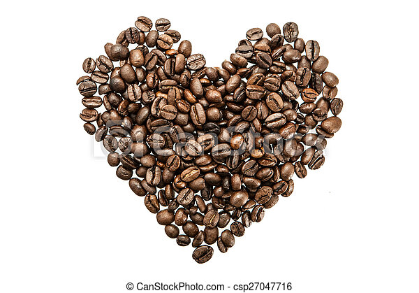 Heart of coffee beans on white background. - csp27047716