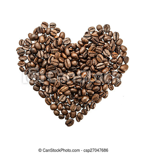Heart of coffee beans on white background. - csp27047686