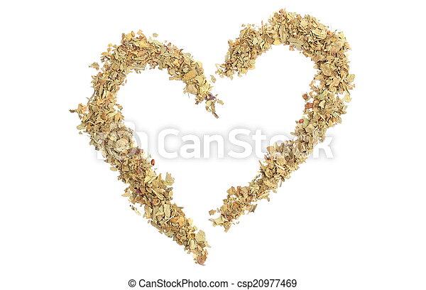 Heart of fresh basil on white background - csp20977469