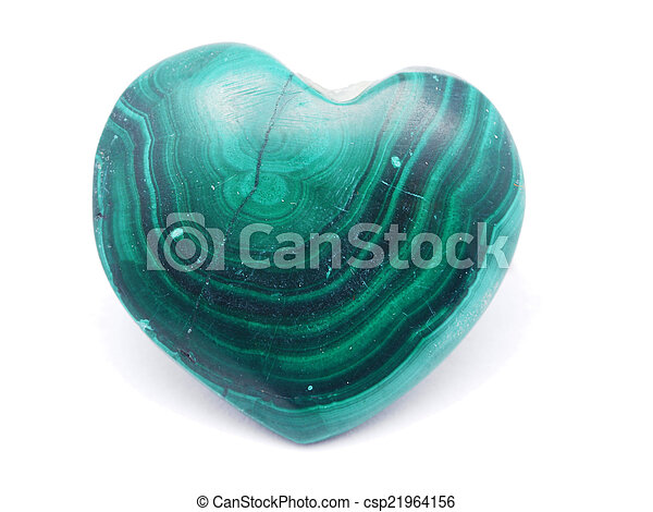 heart of malachite on a white background - csp21964156