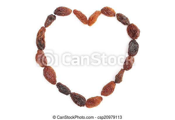 Heart of raisins isolated on white background - csp20979113