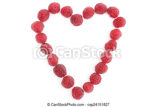 Heart of raspberries on white background - csp24151827
