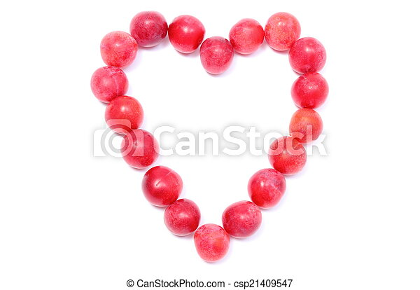 Heart of red mirabelle on white background - csp21409547