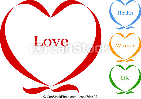 heart of ribbon with text vector - csp4764437