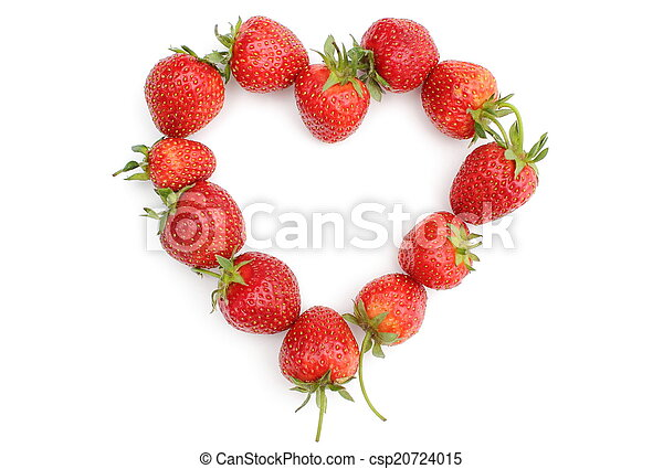 Heart of strawberry on white background - csp20724015