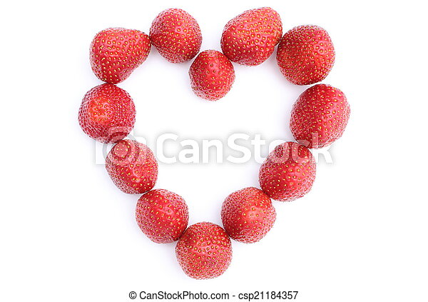 Heart of strawberry on white background - csp21184357