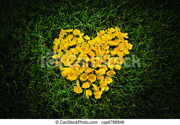 Heart of yellow flowers heart symbol is mean love heart of yellow flowers csp6768946 mightylinksfo