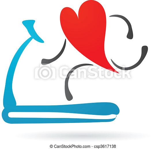 Heart on a treadmill - csp3617138