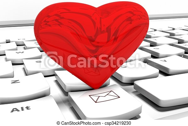 Heart On Computer Keyboard In Online Dating Concept
