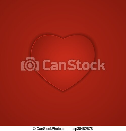 Heart on Red Background Vector Illustration - csp38482678