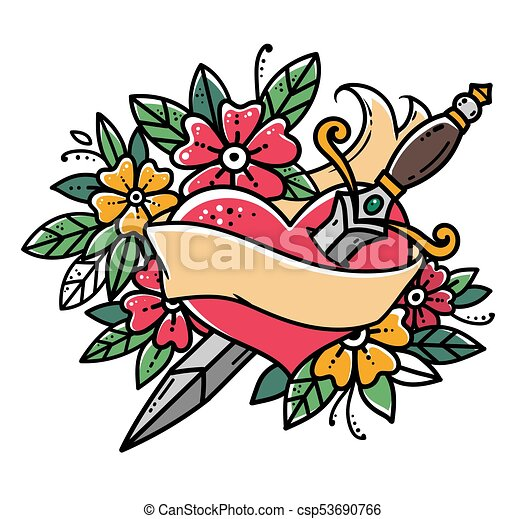 heart pierced with dagger. retro tattoo. heart with ribbon and flowers. old  school retro vector illustration. retro tattoo. | canstock  can stock photo