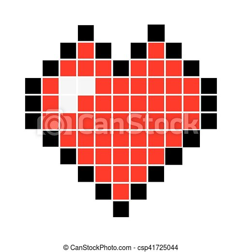 Heart Pixel Icon Vector Illustration Pixel Art Heart Isolated On White Background Vector Illustration Canstock