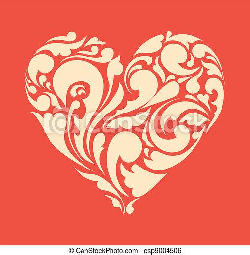 heart., poster, abstract, retro, floral, liefde, concept. - csp9004506