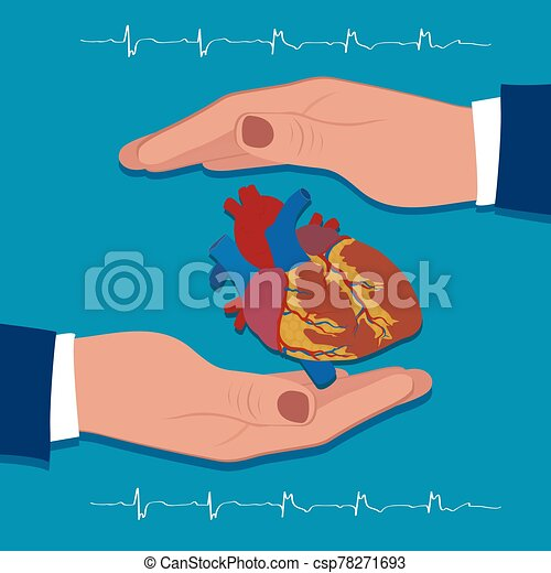 Heart protection concept, vector illustration - csp78271693