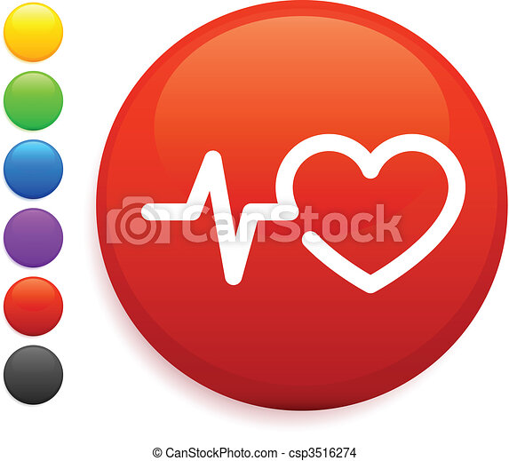 heart rate icon on round internet button - csp3516274