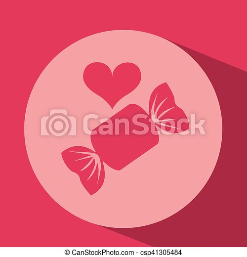 heart red cartoon candy icon design - csp41305484