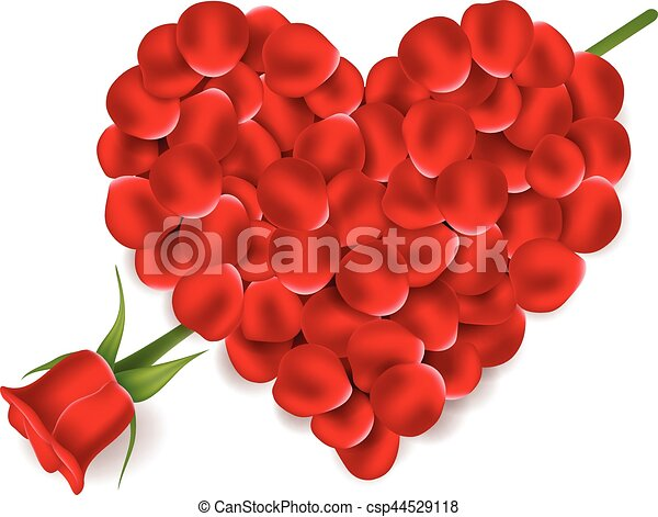 Vector Illustration Of Heart Red Petals With Flower Rose