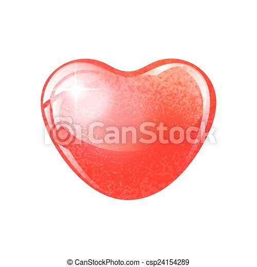 Heart red shape on white background. - csp24154289