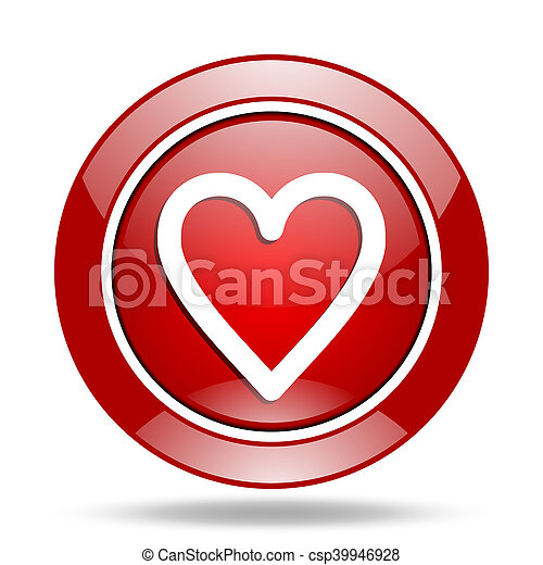 heart red web glossy round icon - csp39946928