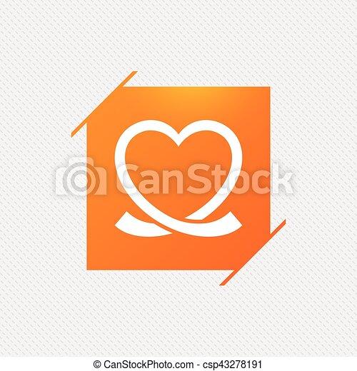 Heart ribbon sign icon. Love symbol. - csp43278191