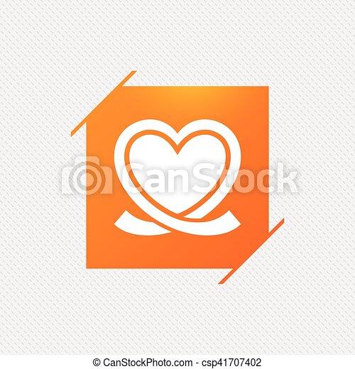 Heart ribbon sign icon. Love symbol. - csp41707402