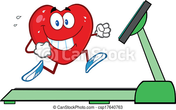 Healthy heart running on a treadmill illustration isolated ...