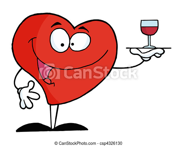 Heart Serving A Glass Of Red Wine  - csp4326130