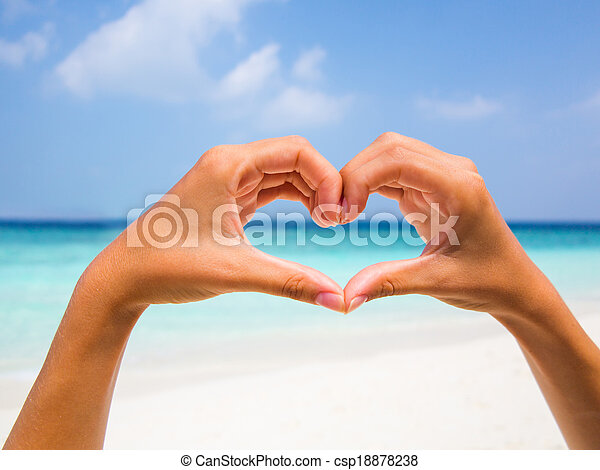 Heart shape against a beautiful blue sky - csp18878238