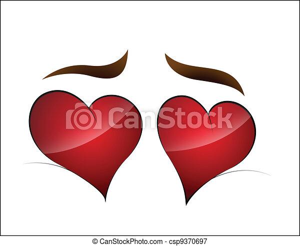 Line Drawing Heart Shape : Beautiful lovely design art of heart shape cartoon eye for